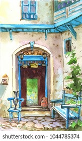 Summer watercolor street, mediterranean , beautiful cafe. Shop