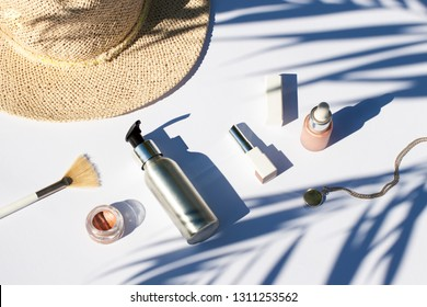 Summer white cosmetics flat lay . Top view beauty composition