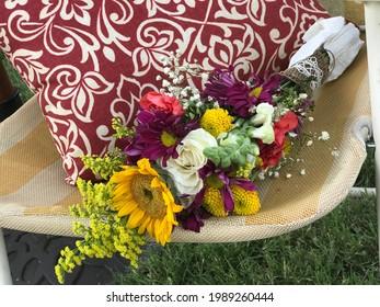 Summer Wildflower Wedding Bouquet on Lawnchair