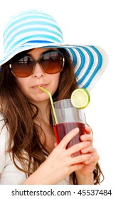 Summer woman drinking a cocktail isolated over a white background