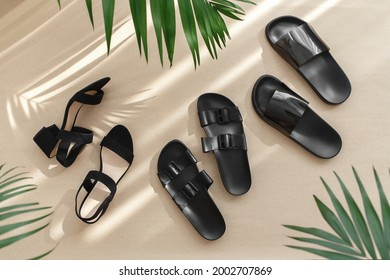 Summer women's shoes. Black heeled sandals, flat sandals, rubber slippers and tropical palm leaves on beige background. Trendy female footwear. Flat lay, top view.