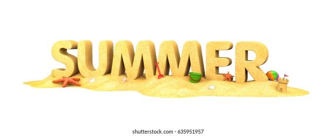 Summer - word of sand. 3d illustration