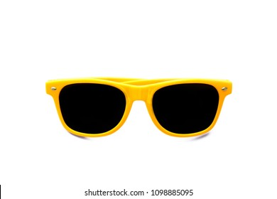 Summer yellow sunglasses isolated in seamless white background. Minimal design element for sun protection, hot days, tropical travel, summer vacations and beach holidays.