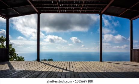 Summerhouse on high mountain on sea coast
