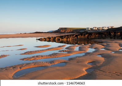 Summerleaze Beach, Bude Cornwall, at low tide, just after sunrise on a sunny October morning.