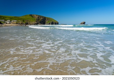 Summers day on the golden sandy beach at Portreath near Redruth Cornwall England UK Europe