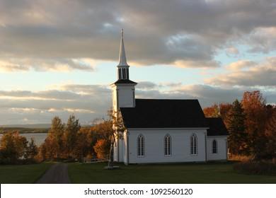 Summerside, Nova Scotia- St. Anne's Church (Small Rural Church in the Fall)