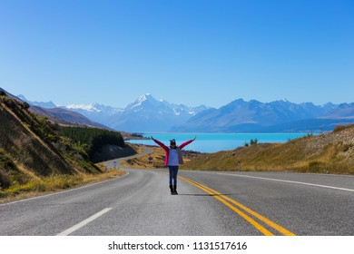 Summertime, Asian woman travel enjoy at Mt cook national park in South Island New Zealand