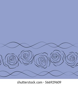 Summertime floral seamless pattern with copy space (place for your text). Abstract background composition with horizontal rose flowers in black and blue colors, splashes, doodles and stylized flowers.