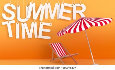 Summertime hanging letters on orange background 3d rendering
