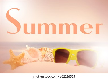 Summertime image of starfish, shells and sunglasses piled on sand. The ocean is blurred in the distance. Vintage filter and lighting flares applied and text added. Overall warm tone.