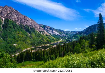 Summertime in Little Cottonwood Canyon in the Wasatch Range of the Rocky Mountains, Utah.