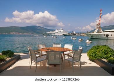 Summertime. Montenegro, Bay of Kotor. View of embankment of Tivat city and marina of Porto Montenegro
