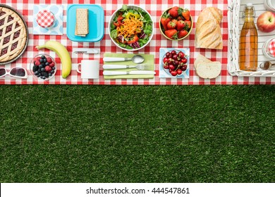 Summertime picnic on the grass with checked tablecloth and healthy food, flat lay banner