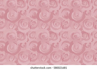 Summertime raster floral seamless pattern. Abstract background composition with rose flowers in pink colors, splashes, doodles and stylized flowers.