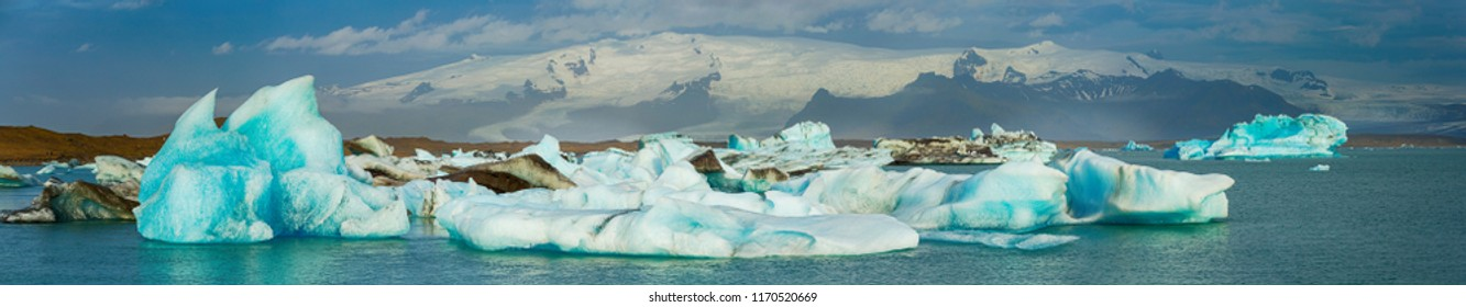 Summertime , view Panorama of icebergs in Jokulsarlon glacier lagoon, Iceland