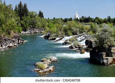A summertime view of the waterfall on the Snake River, that the city of Idaho Falls, Idaho, USA is named after.