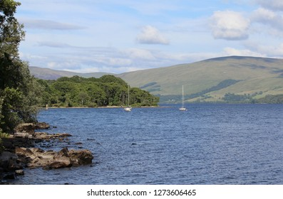 Summertime view of the western end of beautiful Loch Tay near Morenish in Perthshire, Scotland.