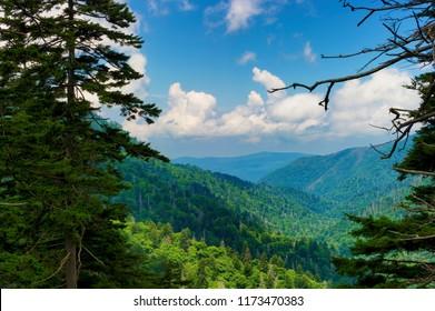 Summertime vista views of the Great Smoky Mountains near Gatlinburg, Tennessee