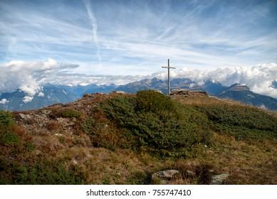 Summit cross at Mount Kronplatz, Dolomites, Italy