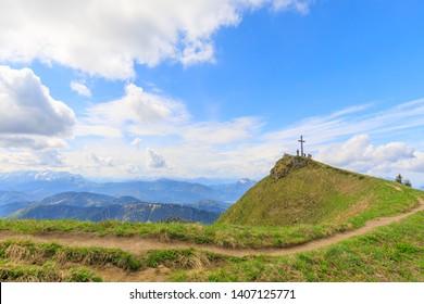 summit cross of mountain Hochgern, Marquartstein, Bavaria, Germany