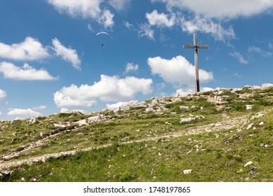 Summit cross on the Hochries peak in Bavaria, Germany