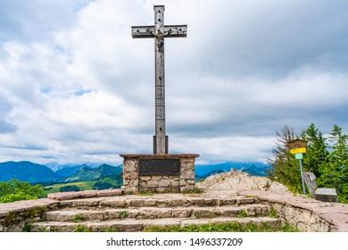 Summit cross on Zwoelferhorn Mountain, Sankt Gilgen in Salzkammergut region, Austria