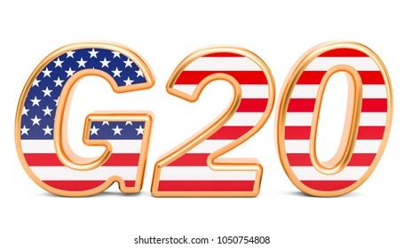 Summit G20 concept. American G20 meeting, 3D rendering