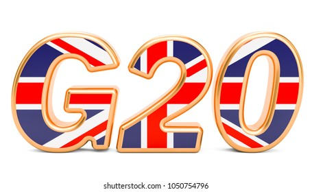 Summit G20 concept. British G20 meeting, 3D rendering