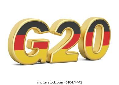 Summit G20 concept. German G20 meeting, 3D rendering