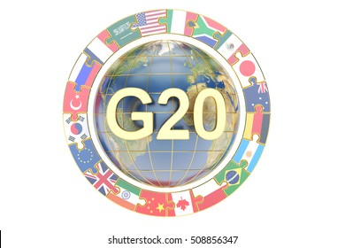 Summit G20 concept with globe, 3D rendering isolated on white background, Elements of this image furnished by NASA