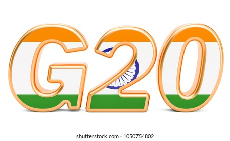 Summit G20 concept. Indian G20 meeting, 3D rendering