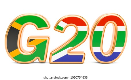 Summit G20 concept. South Africa G20 meeting, 3D rendering