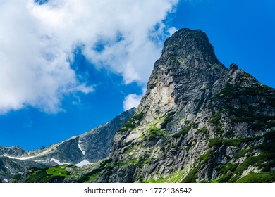 The Summit Jastrzebia Turnia (Jastrabia veza) with the most difficult climbing route marked out in the High Tatras, Slovakia. Climbing goal for the best mountain climbers. - Shutterstock ID 1772136542