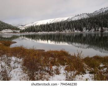Summit lake in British Columbia, Canada