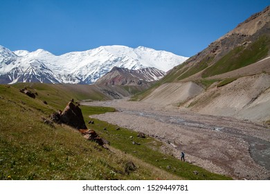 Summit of the Lenin peak. View from base camp Achik-Tash. Pamir region. Kyrgyzstan