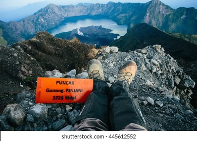 Summit of Mount Rinjani, Lombok Island, Indonesia.