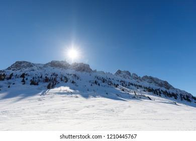 summit of mountain kampenwand on a sunny winter day, bavaria,
