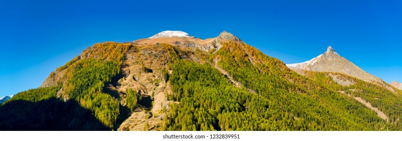 the summit of mountains with snow of Aosta Valley in a clear day and forest with first colors of autumn, Cogne - Italy