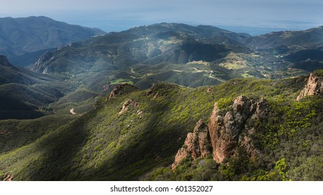 Summit of Sandstone Peak with Views of the Pacific Ocean and Grassy Hills in Santa Monica Mountains National Recreation Area