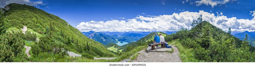Summit view from the Herzogstand to Kochelsee, Bavaria, Germany