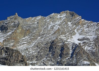 The summit of the Weisshorn in Southern Switzerland, with the Grand Gendarme to the left. One of the highest mountains in Europe