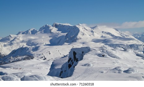 Summits surrounding the Peak of Whistler mountain in British Columbia