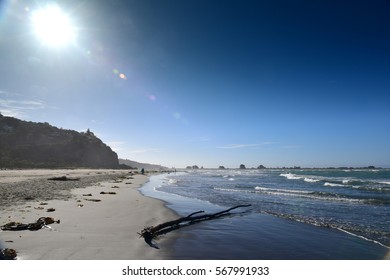 Sumner Beach which is popular with the locals, in Christchurch, New Zealand