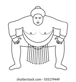 Sumo wrestler icon in outline style isolated on white background. Japan symbol stock rastr illustration.