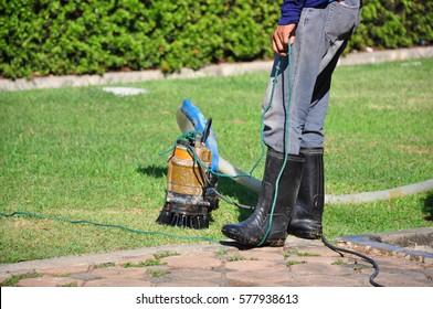 sump pump in garden park