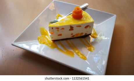 Sumptuous mango cheese cake in a cafe in Boracay Island, Philippines