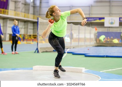 SUMY, UKRAINE - FEBRUARY 9, 2018: Hanna Nelepa performing shot put attempt in pentathlon competition on Ukrainian indoor track and field championship 2018.