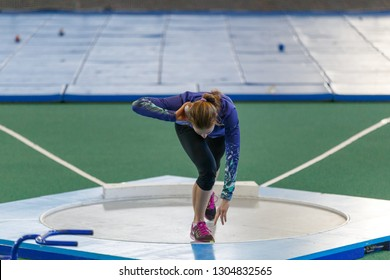 SUMY, UKRAINE - JANUARY 25, 2019: Kateryna Potapenko performing her shot put attempt in pentathlone competition on Team Ukrainian indoor track and field championship 2019.