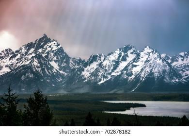 Sun Beams Shine on Majestic Mountain